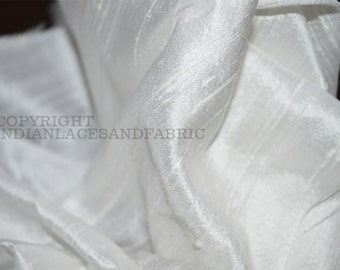 "White Pure Dupioni Silk fabric by the Yard 44"" wide, Indian dupioni silk or raw silk fabric"