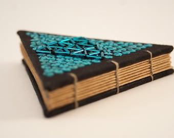 Blue triangle journal, handmade, great gift