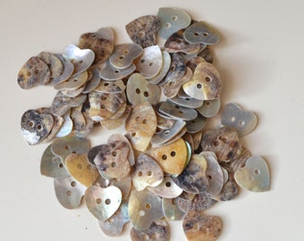 15mm Pearl Shell Heart Button (Two Holes)