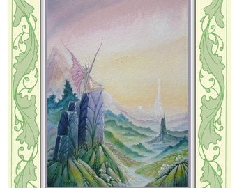 Fantasy, Fairy print from original artwork titled 'Sunrise Over Ivory Mountain'