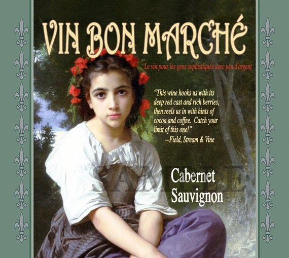 "Wine Label Cover Up Art ""Vin Bon Marche"" (means: Cheap Wine) Transf..."