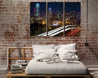"Framed Huge 3-Panel Canvas Gallery Wrap 42""x30""x1' Philadelphia Skyline"