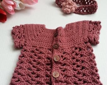Baby Sweater and Matching Headband