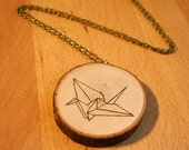 Necklace with wood pendant, entirely hand made