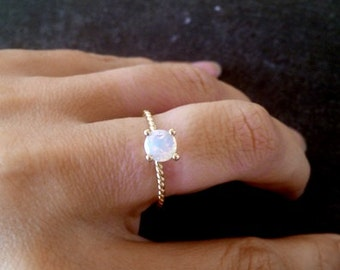 SALE! Gold Ring,Round Ring,Gold Genuine Moonstone Ring, Rainbow Stone Ring,Slim Band, Gemstone Ring,Stacking Ring, June Ring,Simple Ring