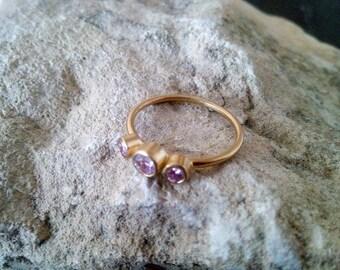 SALE! Light pink ring,Tree pink gemstone ring, bezel set band, gold ring, stacking ring, birthstone ring, rose quartz ring,