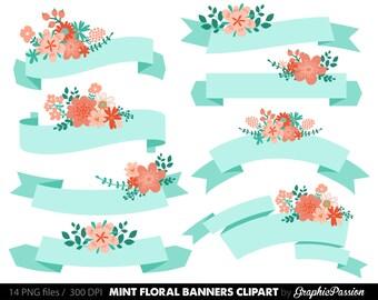 Digital Floral Banners Clipart Mint Digital Wedding Floral Clip Art Scrapbooking Wedding Invitation Mint Coral Peach