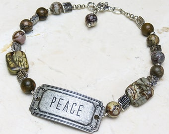 Boot Bracelet with Peace Medallion and Agate // Boot Jewelry // Gifts for Her // Adjustable for All Boots // Handmade