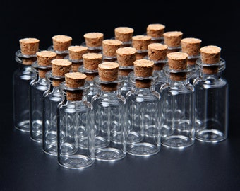 Lot of 20 Pieces 2ml 16x35mm Tiny Mini Empty Clear Glass Bottles Vials with Cork. Tiny Bottle Jar. Wholesale