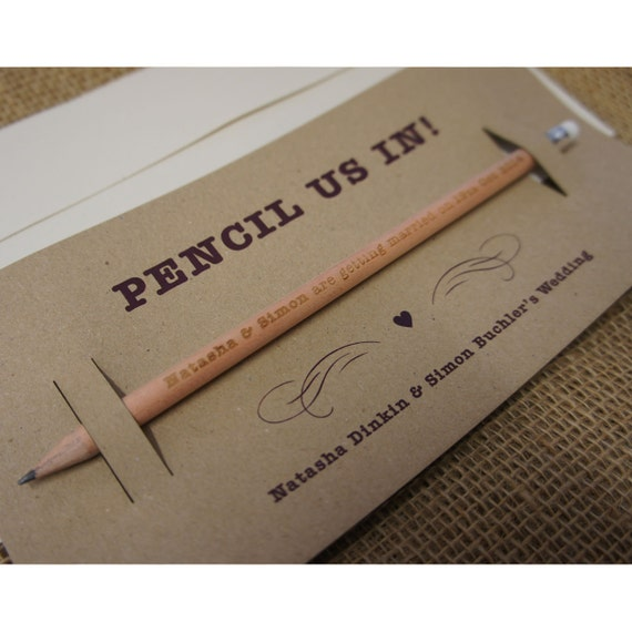 Pencil Us In - Save the Dates 30x (min order) single sided,engraved round long pencils