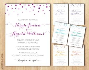 Polka Dot Wedding Invitation, Polka Dot Invitation, Polka Wedding Invitation, Dots Wedding Invitation, Printable Invitation, DIY Inviitation