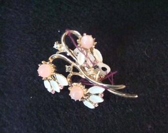 Vintage enamel and rhinestone pin