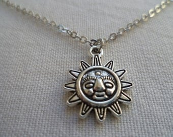 Sun necklace. silver sun necklace,wiccan jewlry,pagan,gift,celestial,minimalist,smiley sun,sun jewellery,small sun simple jewelry