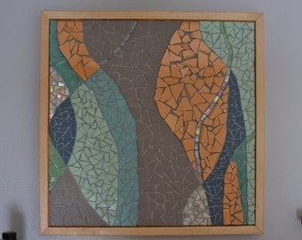 abstract mosaic with turquoise and yellow
