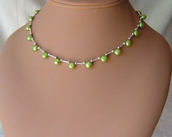 Green Fresh Water Pearl Choker