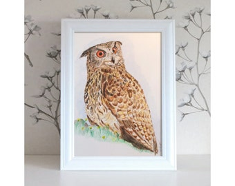 Bird illustration, bird art, watercolor painting, bird painting, watercolor animals, watercolor illustration, owl.