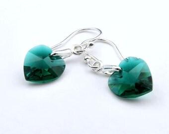 Birthstone Earrings, Crystal Heart Earrings, Sterling Silver, Swarovski Elements, Heart Earring, Dangle Earrings, Drop Earrings
