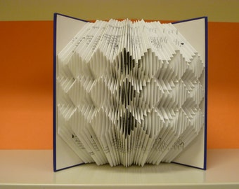 Folded book art, triple diamond design, recycled book sculpture