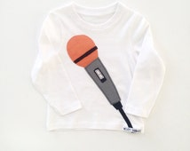 Children's, 12-18 months, white, long sleeved t-shirt, with applique retro microphone (Free p&p uk)