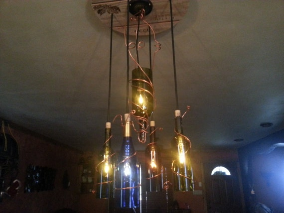 Wine bottle chandelier with custom copper wood burn for How to make your own wine bottle chandelier