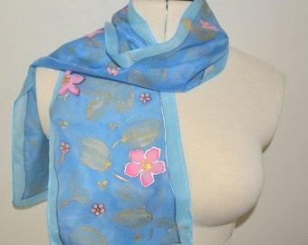 Gold Leaf Scarf – Hand painted 100% Habotai silk scarf