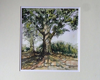 Original Water Colour Painting of two Rustic Trees in the Countryside by Barry Baxter