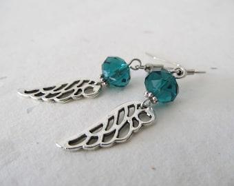 Wing earrings , angel earrings, angel jewelry