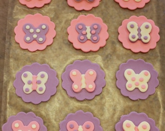 Handmade Edible Fondant Butterfly Cupcake Toppers - set of 12 (one dozen). Pink & Purple Birthday party Baby shower!