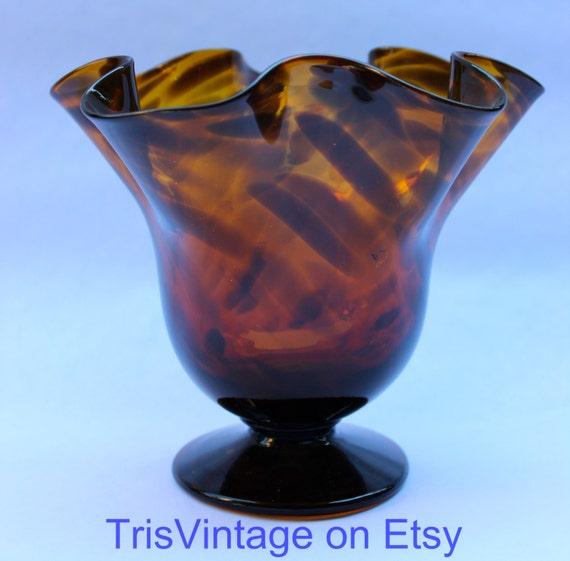 Vintage tortoise shell art glass vase trumpet