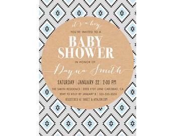 Boy Baby Shower Invitation, Arrow, Indian, Simple, Printable, Native American, Unique (59)