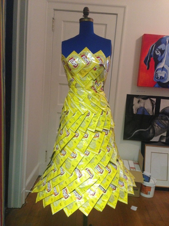 items similar to funky strapless fancy dress from recycled