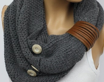 Grey Scarf Knit Infinity Scarf, Womens  Scarves, Knit Scarves, Knit Infinity Scarves