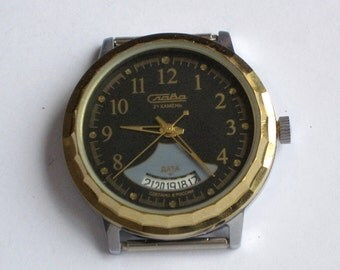 Russian vintage SLAVA 2414 date calendar 21 jewels, original, new condition, was made in 1990s