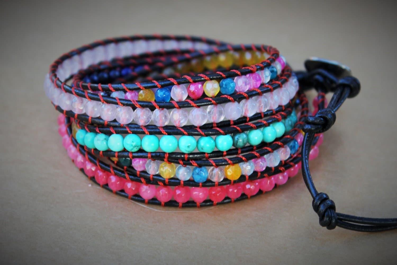 colorful beaded wrap bracelet leather wrap bracelet