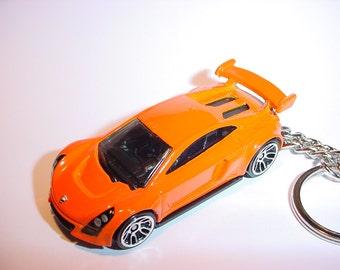 3D Mastretta MXR custom keychain by Brian Thornton keyring key chain finished in orange color trim diecast metal body
