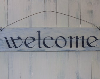 Hand painted Wooden Prim Welcome Sign