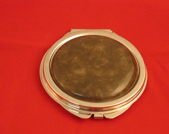 Compact mirror for purse or handbag with turned acrylic button, a perfect gift, by Specialty Turned Designs