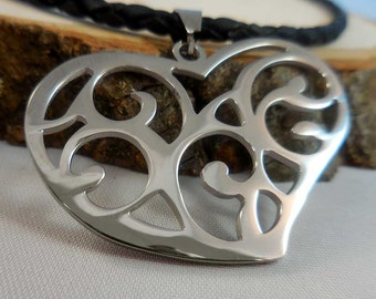 Stainless Steel Cut-Out Heart Necklace