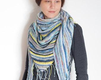 SALE -30% Triangular shawl, wool striped scarf, colorful wrap shawl, hand knit boho shawl, multicolor warm shawl