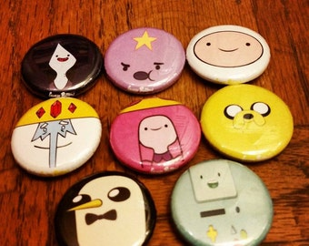 Adventure Time Pins Set of 8     1 inch buttons