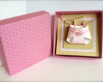 Handmade 3D Boxed Nappy Card New Baby Girl