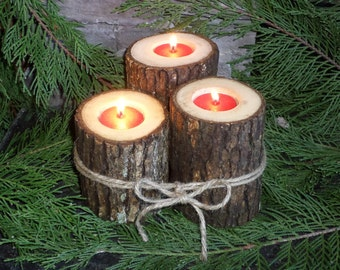 Rustic Log tealight holder, Natural Wood Candle Holder, Rustic Centerpiece, Primitive Decor, Rustic Christmas Decor