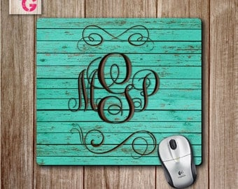 Monogram Mousepad on Teal Wooden Plank Background, Teal Mouse pad, Personalized Mouse Pad, Cute Desk Accessory, Choose Your Background Color