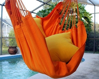 Tangerine Dream - Fine Cotton Hammock Chair, Made in Brazil