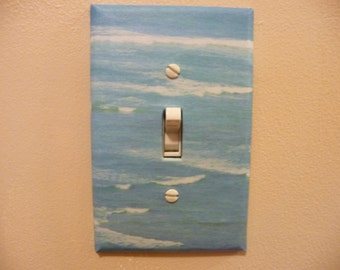 Single switch plate decoupaged with ocean inspired decoration