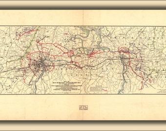24x36 Poster; Map Of Richmond Petersburg Virginia 1907