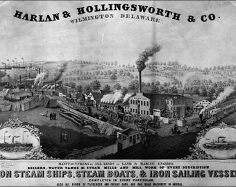 24x36 Poster; Harlan & Hollingsworth Industrial Revolution Steamships and Steamboats