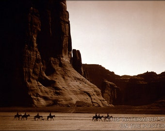 24x36 Poster; Canyon De Chelly - Navajo. Seven Riders On Horseback And Dog Trek Against Background Of Canyon Cliffs, 1904