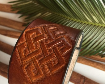 Hand Tooled Leather Cuff Bracelet, Celtic, Brown