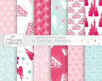 Princess - 12 pink digital papers - INSTANT DOWNLOAD